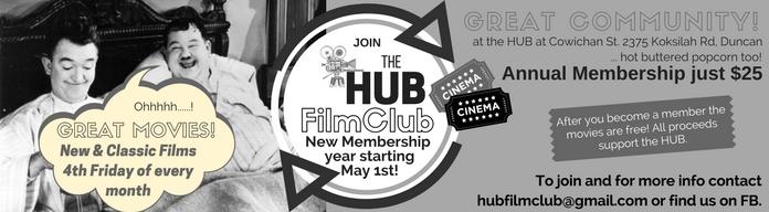 HUB FilmClub Advert 7.25X2in